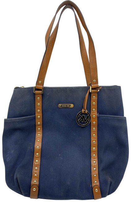 Item - L Size Blue/Brown Interwoven Canvas Shoulder Bag