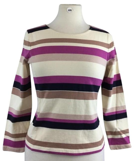 Item - Cream & Purple Multi Stripes Long Sleeve S Tee Shirt Size 6 (S)