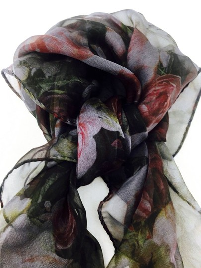 Givenchy Givenchy Black And Red Roses Silk Chiffon Square Scarf New