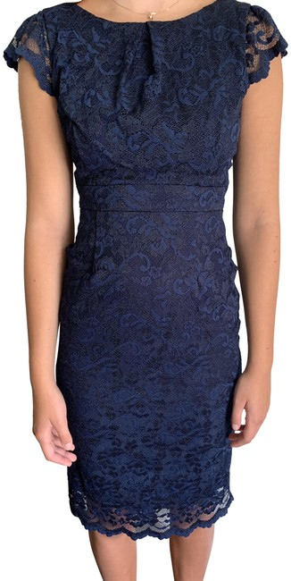 A.B.S. by Allen Schwartz Navy Abs Style # 3l0170m Mid-length Cocktail Dress Size 4 (S) A.B.S. by Allen Schwartz Navy Abs Style # 3l0170m Mid-length Cocktail Dress Size 4 (S) Image 1