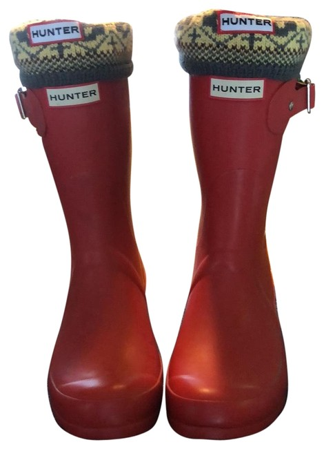 Item - Red Short Rubber Rain Boots/Booties Size US 7 Regular (M, B)