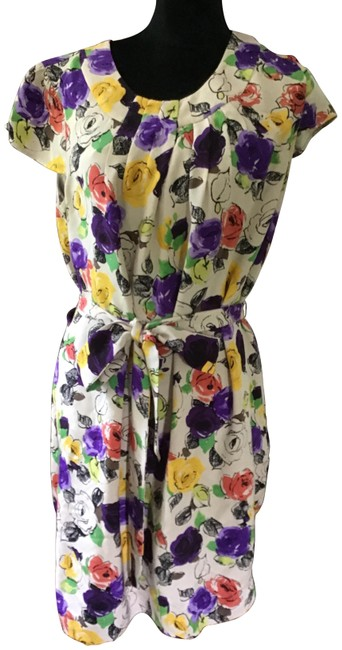 Item - Multicolor W Floral Print W/Sash Silk Lined Mid-length Short Casual Dress Size 14 (L)