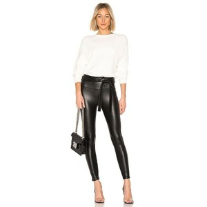 David Lerner Belted High Waist Faux Leather Stretchy Black Leggings
