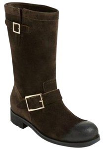 Jimmy Choo Suede Leather Biker Brown Boots