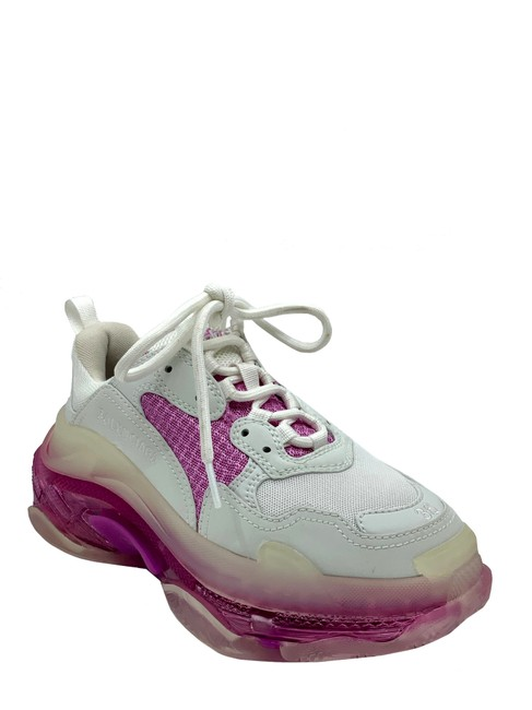 Item - White/ Pink White/ Triple S Low Top Leather/ Mesh Logo Embroidered Sneakers Size US 6 Regular (M, B)