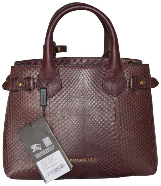 Item - Bag Banner Derby Small Mahogany Red Python Skin Leather Tote
