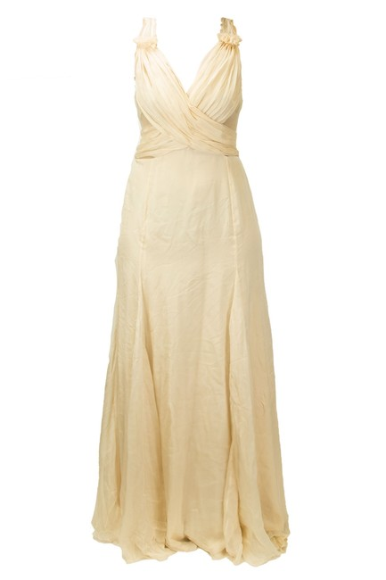 Item - Powder Beige Deep V Evening Gown Long Night Out Dress Size 10 (M)