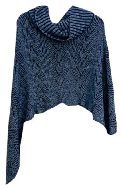 Item - Blue Gray Cowl Neckline and Knitsweater with Tassels Poncho/Cape Size OS (one size)