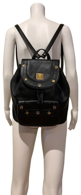 Item - Large Vintage Studded Black Gold Lambskin Leather Backpack