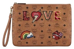 MCM Cognac Love Patch Visetos Brown Clutch