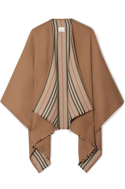 Item - Neutral Multicolored Tan Reversible Wool Wrap Poncho/Cape Size OS