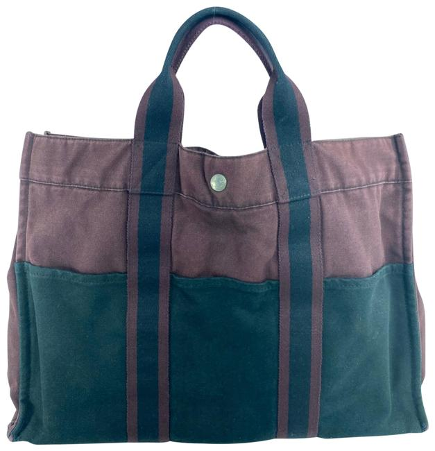Item - Fourre Tout Gm Bicolor 12her623 Burgundy Canvas Tote