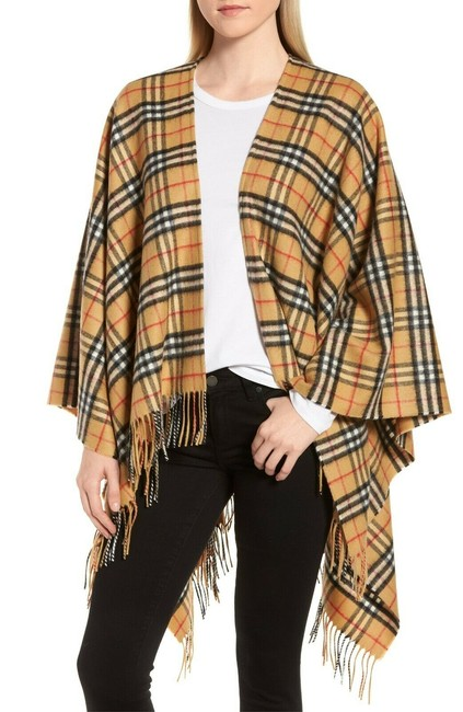 Item - Vintage Check Cashmere Wool Poncho/Cape Size OS (one size)