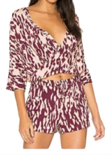 Item - Burgundy Margot Print Cover-up-romper Cover-up/Sarong Size 8 (M)