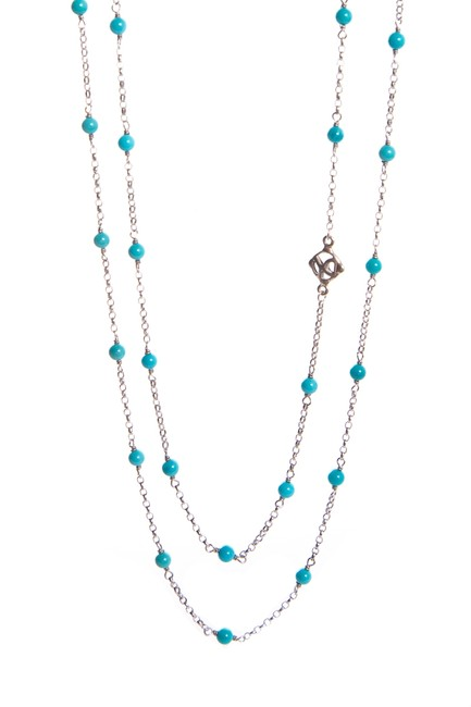 Item - Turquoise Silver Beaded Necklace