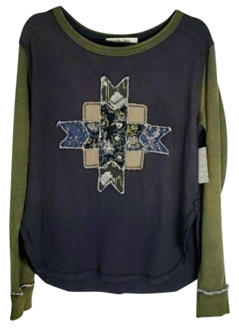 Item - Charcoal Gray Patchwork Star Long Sleeve Boho Tee Shirt Size 6 (S)