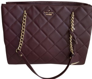 Kate Spade Leather Quilted Chain Strap Oxblood Shoulder Bag