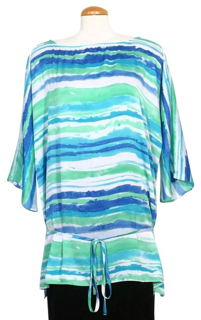 Item - White Blue Green Watercolor Stripe Crepe Belted Tunic 2x Blouse Size 22 (Plus 2x)