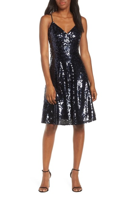 Item - Navy Sequin Fit & Flare Mid-length Night Out Dress Size 12 (L)