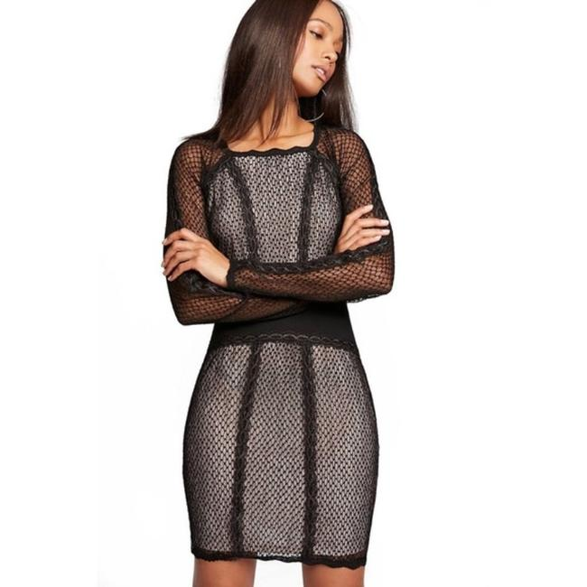 Item - Black Cream Mixed Mesh Bodycon Lace Short Night Out Dress Size 2 (XS)