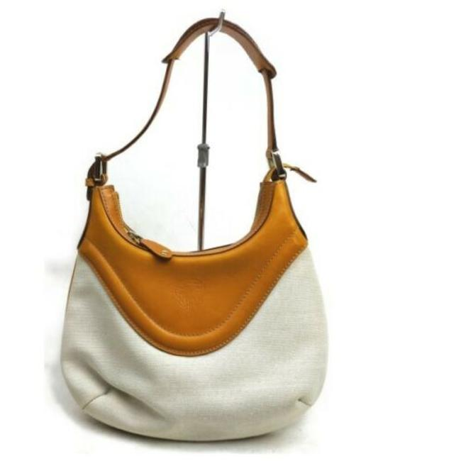 Item - Hysteria Hobo And Handle Orange Leather/White Canvas Shoulder Bag