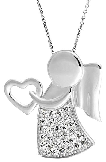 nwot sterling silver 925 angel wing heart necklace pendant child religious daughter mother jewelry valentine gift nwot angel wing mother day necklace daughter son heart silver