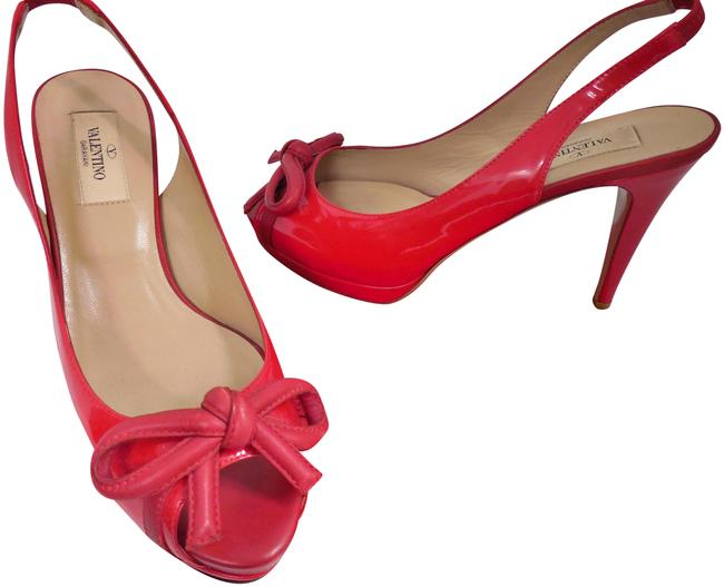 Item - Red Patent Leather Bow Slingback Stiletto Heels Italy Platforms Size EU 37 (Approx. US 7) Regular (M, B)