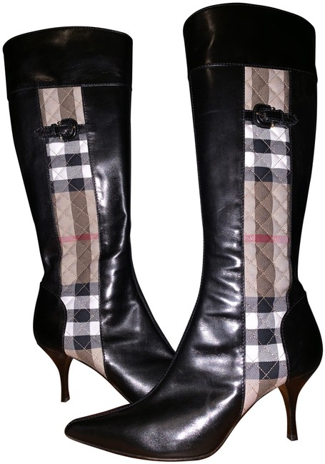 Item - Black Tan White Check Checkered Quilted Stiletto Leather Knee-high Boots/Booties Size EU 40 (Approx. US 10) Regular (M, B)