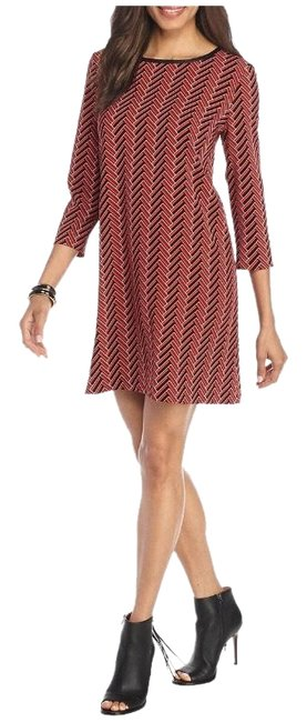 Item - Red Black Zigzag Printed Trapeze with Faux Leather Trim Mid-length Work/Office Dress Size 10 (M)