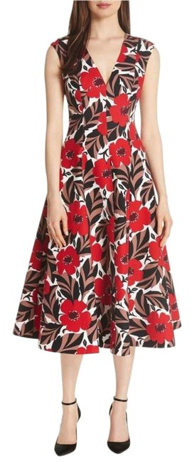 Item - Red/White Poppy Field Structured Midi Mid-length Cocktail Dress Size 00 (XXS)