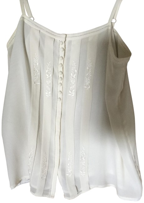 Item - Cream Lace Embroidered and Silk Camisole Tank Top/Cami Size 4 (S)