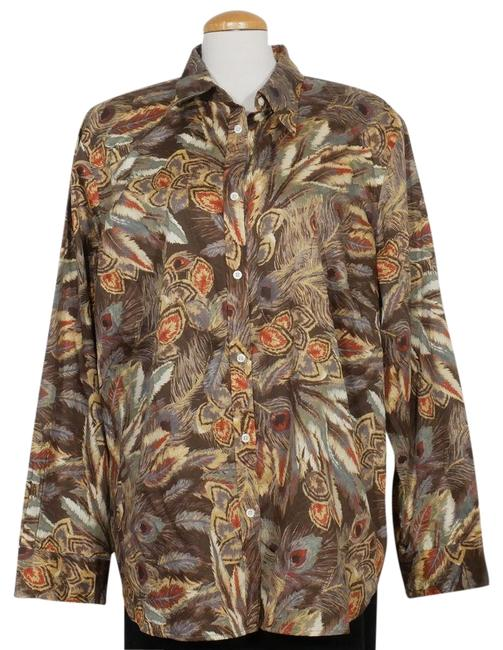Item - Brown Multi Cotton Sateen Feather Print Shirt 3x Button-down Top Size 26 (Plus 3x)