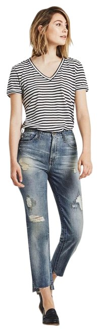 AG Adriano Goldschmied Distressed The Phoebe 17 Year Vintage Boyfriend Cut Jeans Size 2 (XS, 26) AG Adriano Goldschmied Distressed The Phoebe 17 Year Vintage Boyfriend Cut Jeans Size 2 (XS, 26) Image 1
