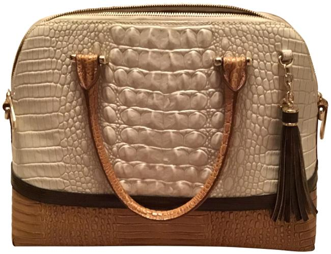Item - Duxbury Textured Crystal Melbourne White and Pecan Leather Satchel