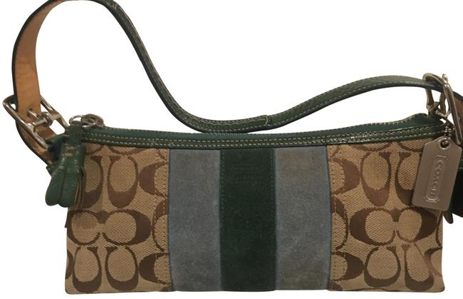 Item - Monogram Green Turquoise and Beige Classic Logo Canvas Suede Clutch