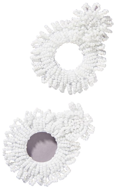 Item - White Beaded Hoop Earrings