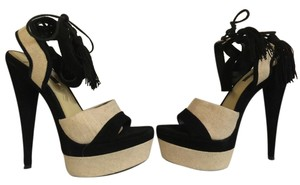 Rachel Zoe Tassels Black & Tan Platforms