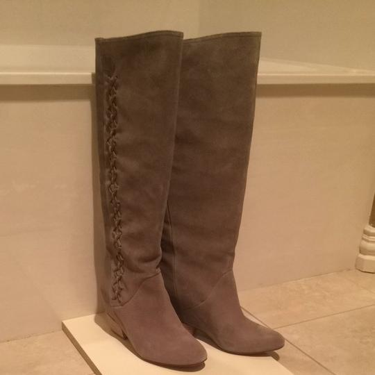 Gianni Bini Riding Leather Suede Fashion Grey Boots