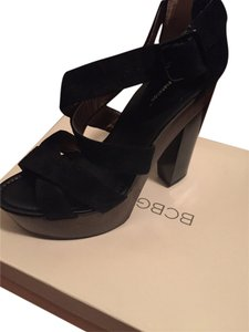 BCBGMAXAZRIA Wedges Sandals Heels Summer Black Platforms