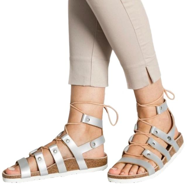 Item - Silver Cleo Frosted Metallic Leather Sandals Size US 5 Narrow (Aa, N)