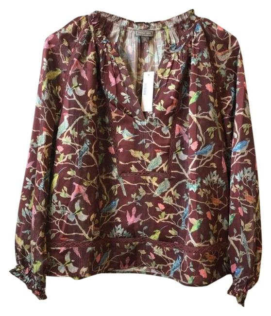Item - Brown Green Point Sur Ruffle-neck Popover In Menagerie Print Blouse Size 4 (S)