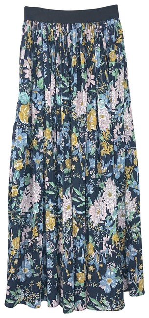 Item - Blue Floral Print Accordion Knife Pleats Elastic Length Pull On Skirt Size OS (one size)