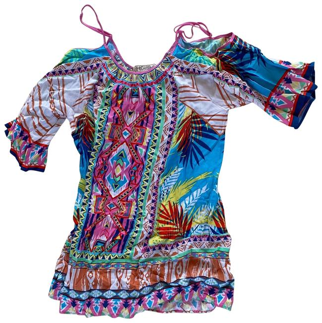 Item - Colorful Multicolored Open Shoulder Mini Length Small Short Casual Dress Size 4 (S)