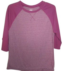 Athletic Works 3/4 Sleeves Two T Shirt Passionate Plum