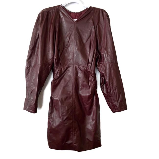 Item - Burgundy Womens Celini Ruched Leather Mini Short Night Out Dress Size OS (one size)