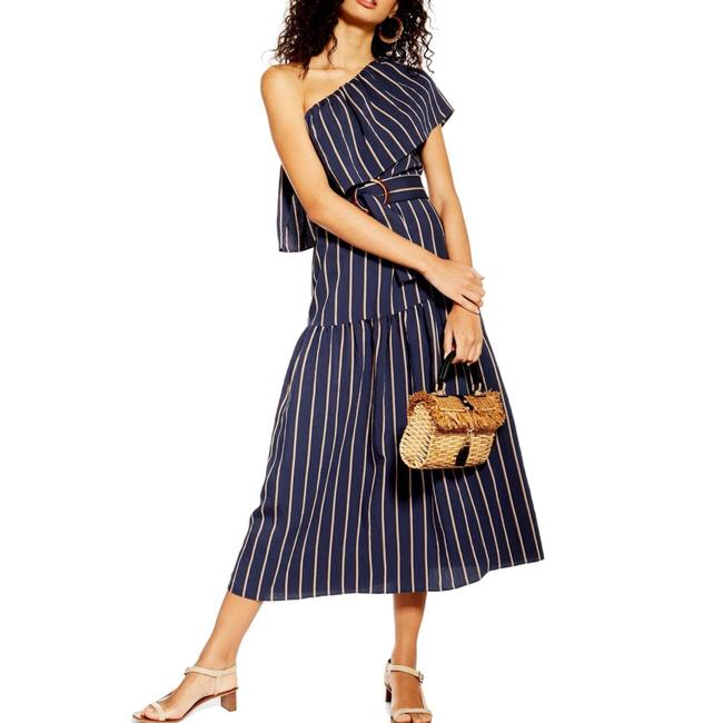 Item - Navy Sicily One-shoulder Midi Mid-length Casual Maxi Dress Size 6 (S)