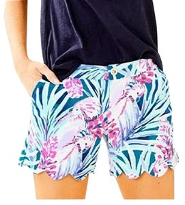 Lilly Pulitzer Summer Spring Floral Scalloped Mini/Short Shorts Blue