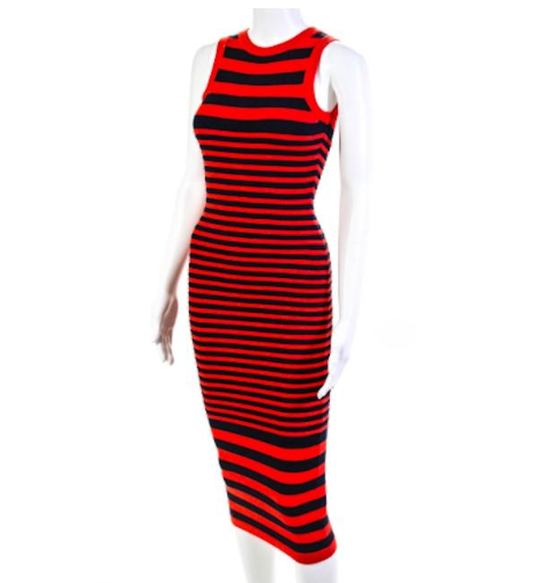 Item - Red Navy Stripe Bodycon Mid-length Casual Maxi Dress Size Petite 2 (XS)
