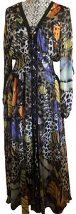 black/white cheetah print, yellow, orange, purple butterflies Maxi Dress by TOV Holy