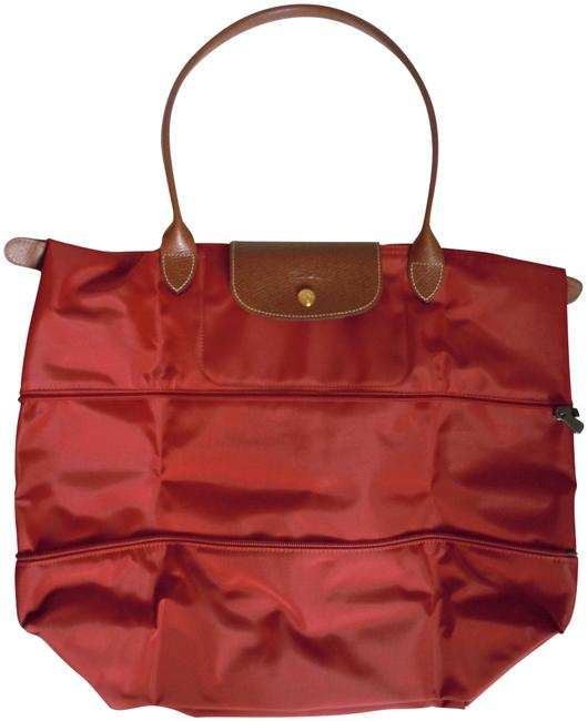 Le Pliage Large Expandable Made In France Red Nylon Tote